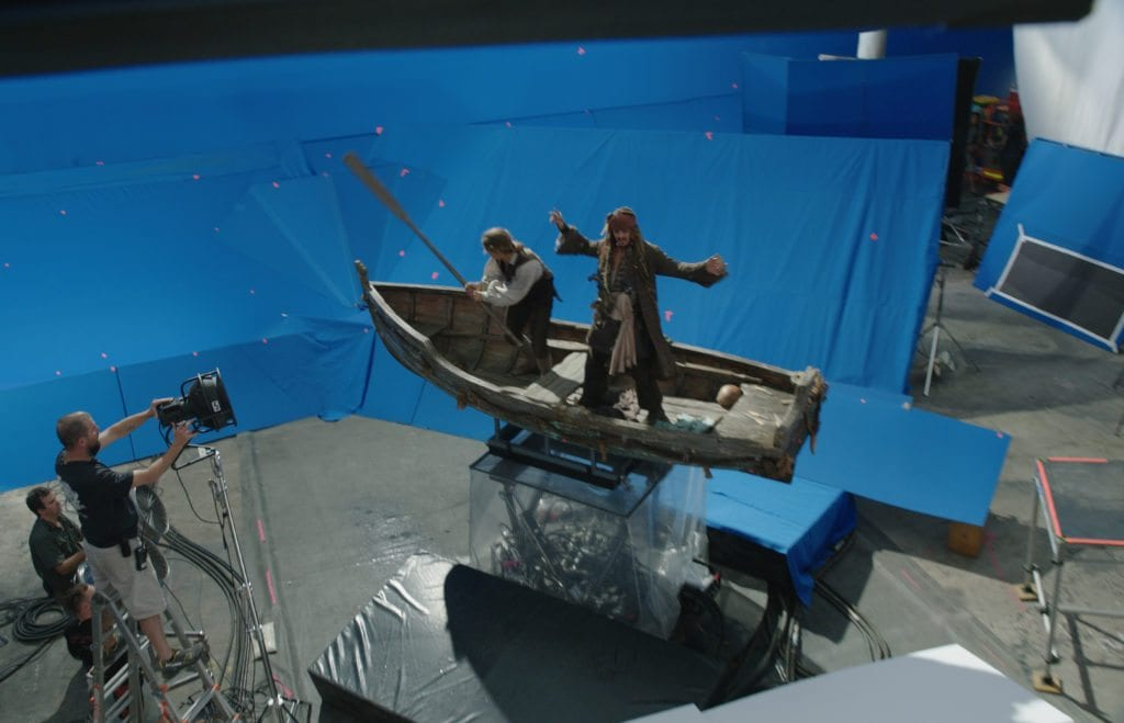 Johnny Depp as Capt Jack Sparrow on blue screen.