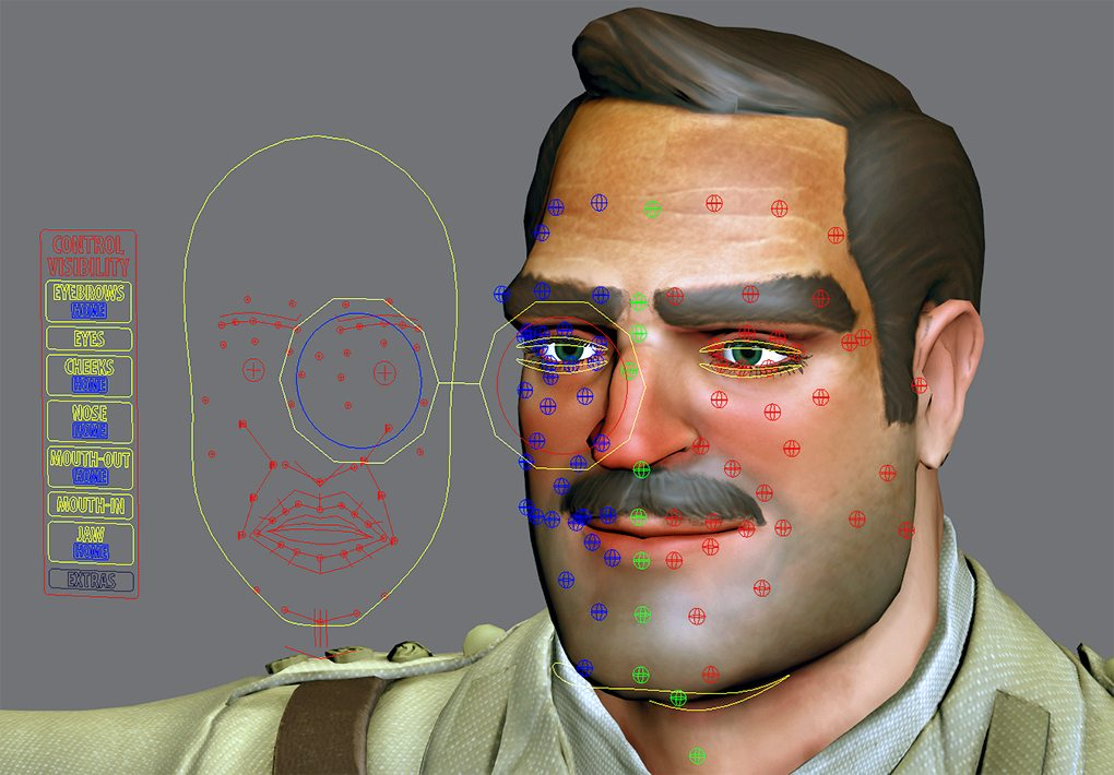 Individual joint controls for the face and the face tracking map
